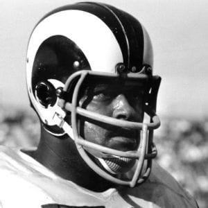 Rosey wears a Rams Helmet