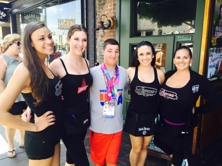 Matt Hernandez Visits Legends Sports bar after winning Silver Medal in 500 Meter Kayak Race